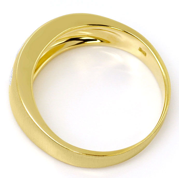 Foto 3, Mattierter Goldbandring mit 0,30ct River Brillanten 14K, S3479