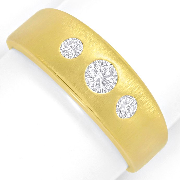Mattierter Goldbandring mit 0,30ct River Brillanten 14K, Designer Ring