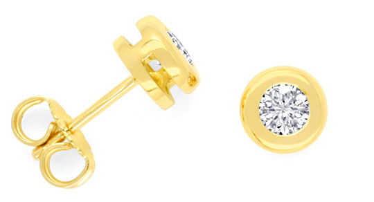 Foto 1, Paar Gold Ohrstecker 0,46ct Brillanten Diamanten Luxus!, S3487