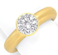 Foto 1, Super Diamant-Ring 1,56ct Lupenrein HRD DPL 18K Schmuck, S3489