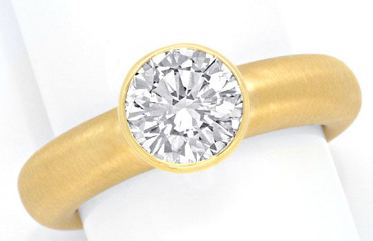 Foto 2, Super Diamant Ring 1,56ct Lupenrein HRD DPL 18K Schmuck, S3489