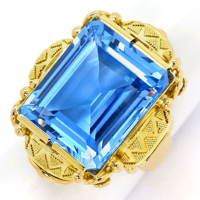 Foto 2, Riesiger Blauer Spinell 21,8ct in Granuliertem Goldring, S3500