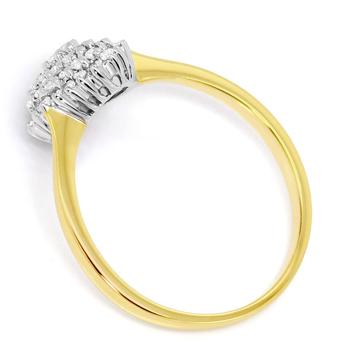 Foto 3, Herzförmiger Diamant Ring mit 52 Brillanten in 14K Gold, S3531