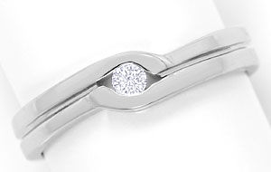 Foto 1, River Lupenreiner Brillant 0,08ct in Weissgold Ring 18K, S3555