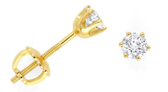 Foto 1, Brillant-Ohrstecker Diamant-Ohrringe Gelbgold Shop Neu!, S3559