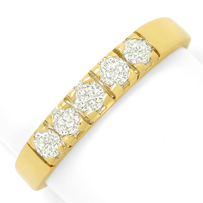 Foto 2, Diamant Halbmemory Ring 0,50ct Brillianten 18K Gelbgold, S3560
