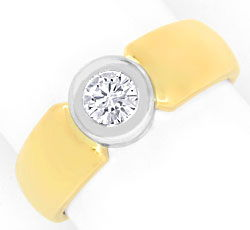 Foto 1, Brillant-Diamant-Ring 0,31ct, Gelbgold Weissgold Luxus!, S3581