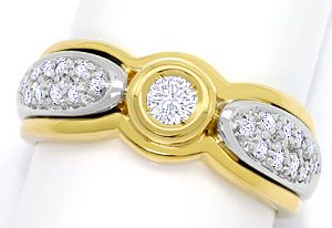 Foto 1, Brillant-Diamantring in Gelbgold Weissgold, 21Diamanten, S3591