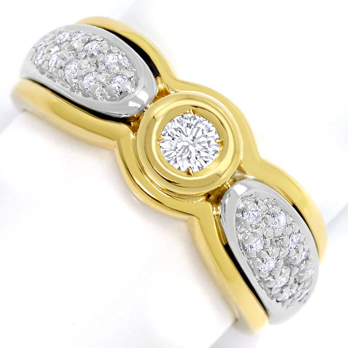 Foto 2, Brillant-Diamantring in Gelbgold Weissgold, 21Diamanten, S3591