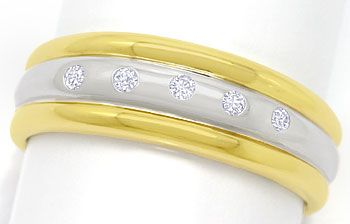 Foto 1 - Bandring mit 0,12ct Brillanten River in 14K/585 Bicolor, S3623