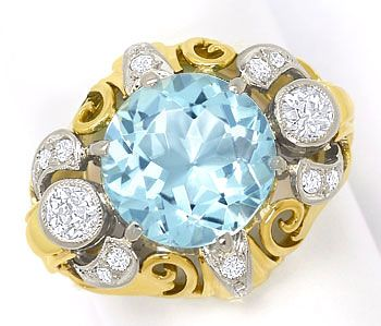 Foto 1, antiker Gold-Platin-Diamantenring mit 4ct Top-Aquamarin, S3634
