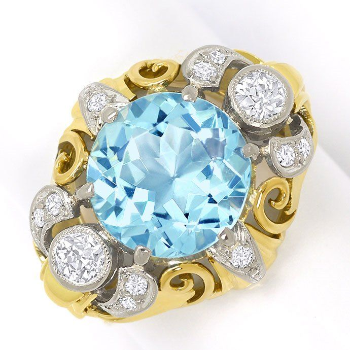 Foto 2, antiker Gold-Platin-Diamantenring mit 4ct Top-Aquamarin, S3634
