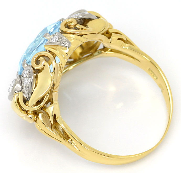 Foto 3, antiker Gold-Platin-Diamantenring mit 4ct Top-Aquamarin, S3634