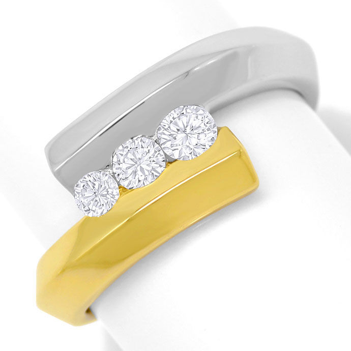 Foto 2, Bicolor Goldring mit 0,41ct River Brillanten in 18K/750, S3638