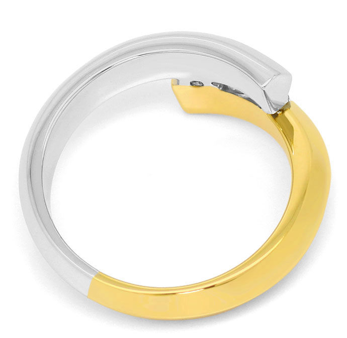 Foto 3, Bicolor Goldring mit 0,41ct River Brillanten in 18K/750, S3638