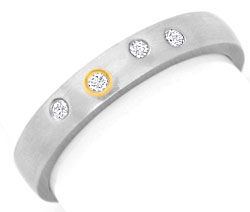 Foto 1 - Diamant Platin Ring mit Brillanten, Gold Einlage Luxus!, S3651