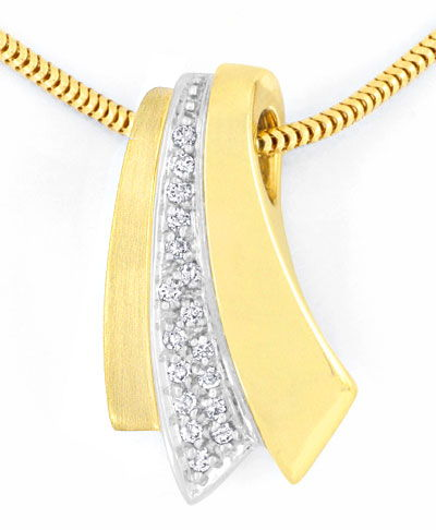 Foto 2 - Brillant Diamant Kollier, Diamanten Gold Collier Luxus!, S3661
