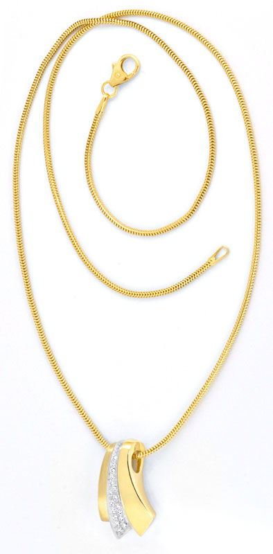 Foto 3 - Brillant Diamant Kollier, Diamanten Gold Collier Luxus!, S3661