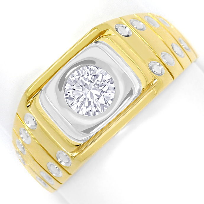 Herrenring mit 0,58ct Brillantsolitär VVS1 18K/750 Gold, Designer Ring