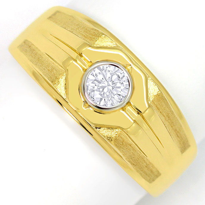 Foto 2 - Herren Ring mit 0,38 Carat Brillant Solitär in 18K Gold, S3676
