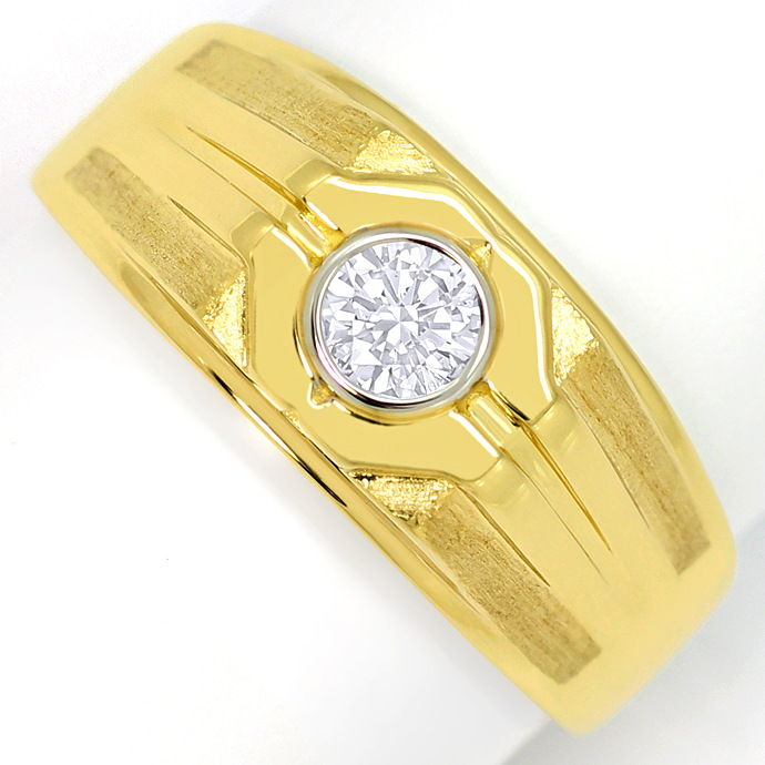 Herren Ring mit 0,38 Carat Brillant Solitär in 18K Gold, Designer Ring