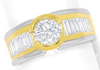 Foto 1, Design Ring 1,07ct Brillant und 1,2ct Diamant Baguetten, S3678