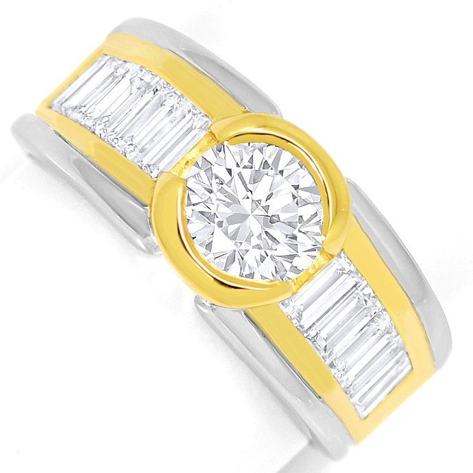 Design Ring 1,07ct Brillant und 1,2ct Diamant Baguetten, Designer Ring