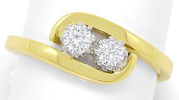 Foto 1, Goldring mit 0,34ct Lupenreinen Brillianten in 14K Gold, S3681
