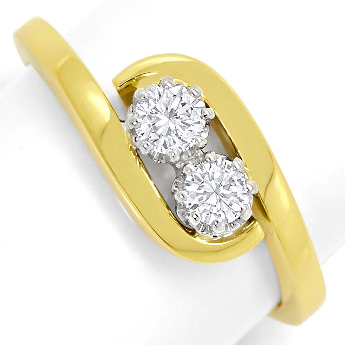 Foto 2, Goldring mit 0,34ct Lupenreinen Brillianten in 14K Gold, S3681