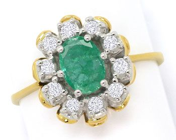 Foto 1, Smaragd Brillianten Ring 0,6ct Emerald und 0,20ct River, S3682