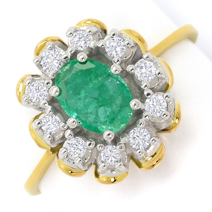 Foto 2, Smaragd Brillianten Ring 0,6ct Emerald und 0,20ct River, S3682