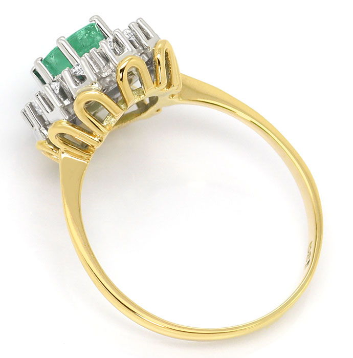 Foto 3, Smaragd Brillianten Ring 0,6ct Emerald und 0,20ct River, S3682