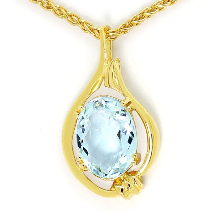 Foto 3, Aquamarin 2,5ct in Gold-Anhaenger an Zopf-Goldkette 14K, S3685
