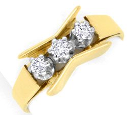 Foto 1, Brillant Ring Gelbgold Weissgold 3 Diamanten Luxus! Neu, S3700