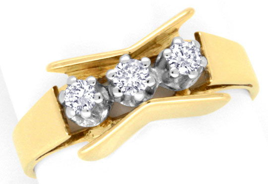 Foto 2, Brillant Ring Gelbgold Weissgold 3 Diamanten Luxus! Neu, S3700