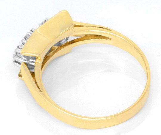 Foto 3, Brillant Ring Gelbgold Weissgold 3 Diamanten Luxus! Neu, S3700