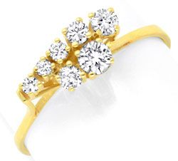 Foto 1, Brillant Diamant Ring Handarbeit Gelbgold 0,38ct Luxus!, S3703
