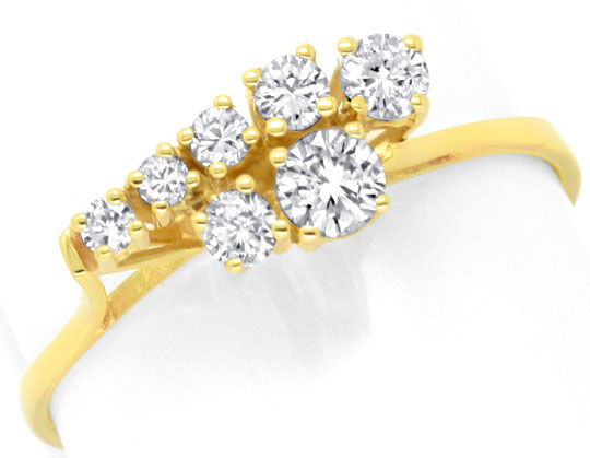 Foto 2, Brillant Diamant Ring Handarbeit Gelbgold 0,38ct Luxus!, S3703