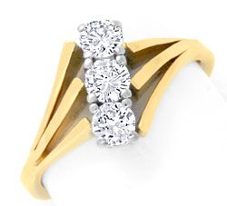 Foto 1 - Brillantgoldring Gelbgold Weissgold 0,62ct River Luxus!, S3711
