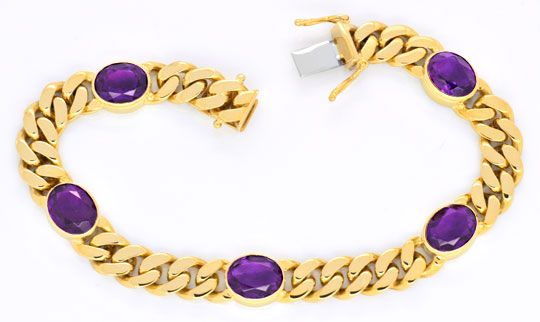 Foto 1, Flachpanzer Gold Armband massiv, 5 Top Amethyste Luxus!, S3720