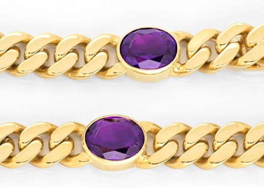 Foto 2, Flachpanzer Gold-Armband massiv, 5 Top Amethyste Luxus!, S3720