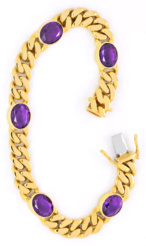 Foto 3, Flachpanzer Gold-Armband massiv, 5 Top Amethyste Luxus!, S3720