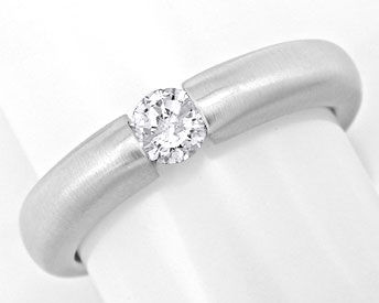 Foto 1, Brillant Diamant Spann Ring 0.25ct River 18K Luxus! Neu, S3723