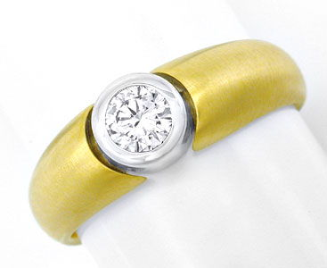 Foto 1, BRILLANT-DIAMANT-BAND-RING 0,3ct 18K BICOLOR LUXUS! NEU, S3727