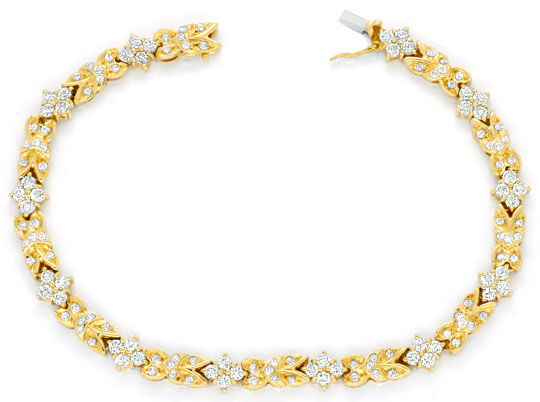 Foto 1, Brilliant-Armband, 132 Diamanten 3,03ct Gelbgold Luxus!, S3732