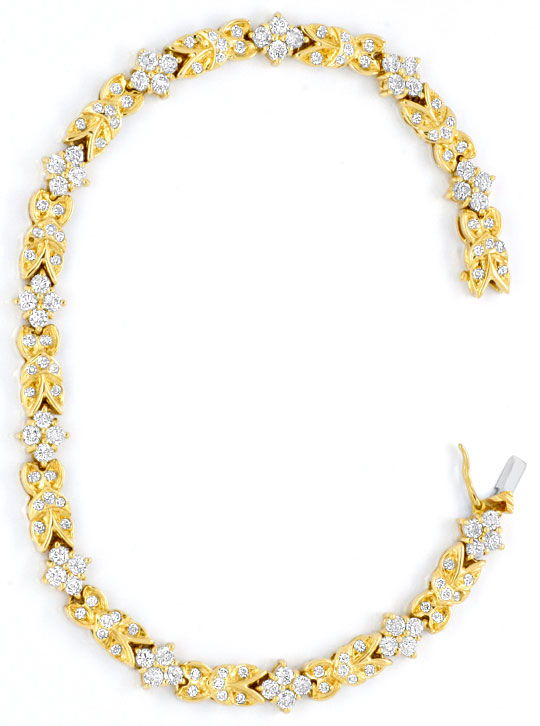 Foto 3, Brilliant-Armband, 132 Diamanten 3,03ct Gelbgold Luxus!, S3732
