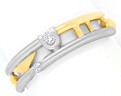Foto 1 - Super Top Design Brillantring Gelbgold Weissgold Luxus!, S3733