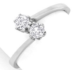 Foto 1 - Diamant Ring Weissgold zwei Diamanten 0,36ct Luxus! Neu, S3760