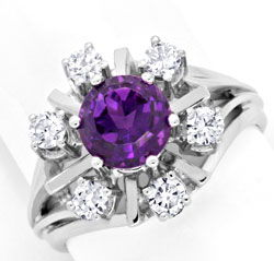 Foto 1, Brillantring Super Amethyst 6 Diamanten 18K Gold Luxus!, S3765