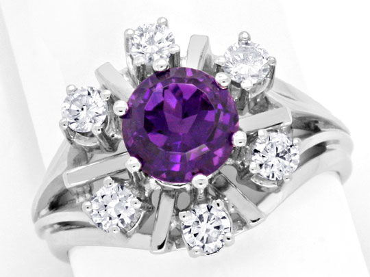 Foto 2 - Brillantring Super Amethyst 6 Diamanten 18K Gold Luxus!, S3765